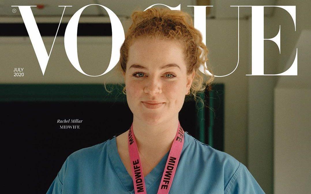 Кассир, акушерка и машинистка: девушки-герои борьбы с пандемией на обложке Vogue