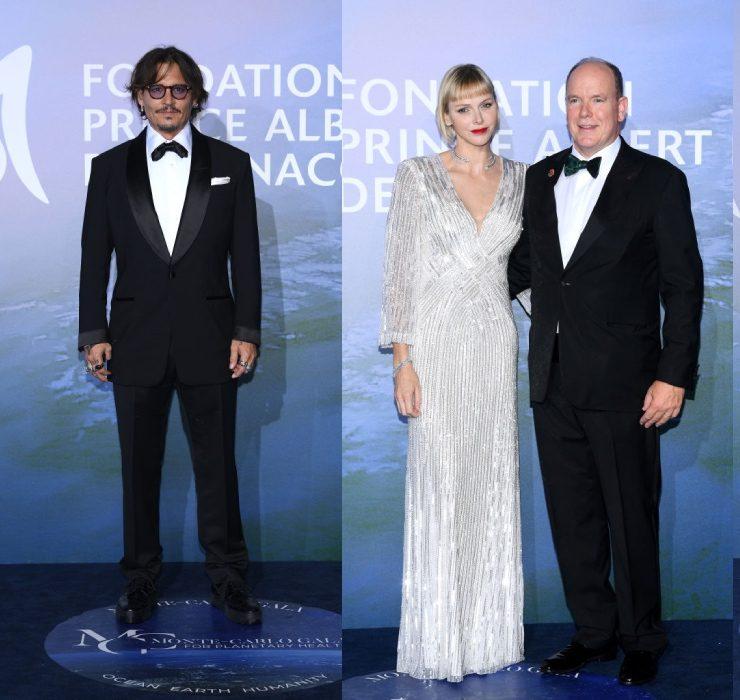Джонні Депп, Аліна Байкова, князь Альбер II і княгиня Шарлен на гала-вечорі в Монте-Карло