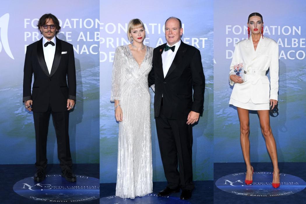 Джонни Депп, Алина Байкова, князь Альбер II и княгиня Шарлен на гала-вечере в Монте-Карло