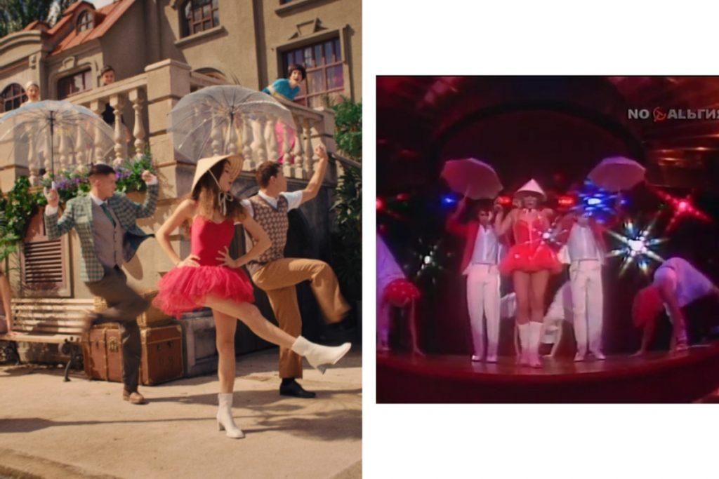 «УВЛИУВТ на улице Пикадилли»: героини клипа MONATIK и Лаймы Вайкуле в легендарных образах поп-дивы 90-х