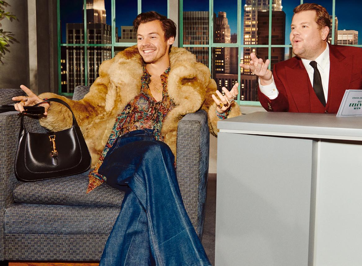 Дакота Джонсон, Гарри Стайлз и Сиенна Миллер в ток-шоу Gucci