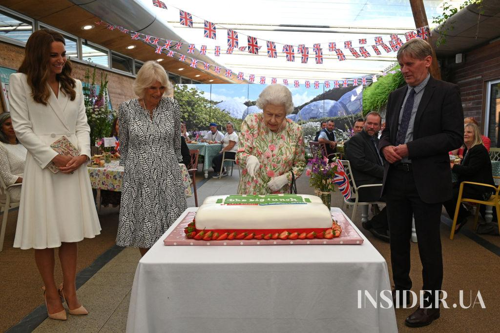 Елизавета II, Кейт Миддлтон, Джилл Байден и Брижит Макрон на саммите G7 в Корнуолле