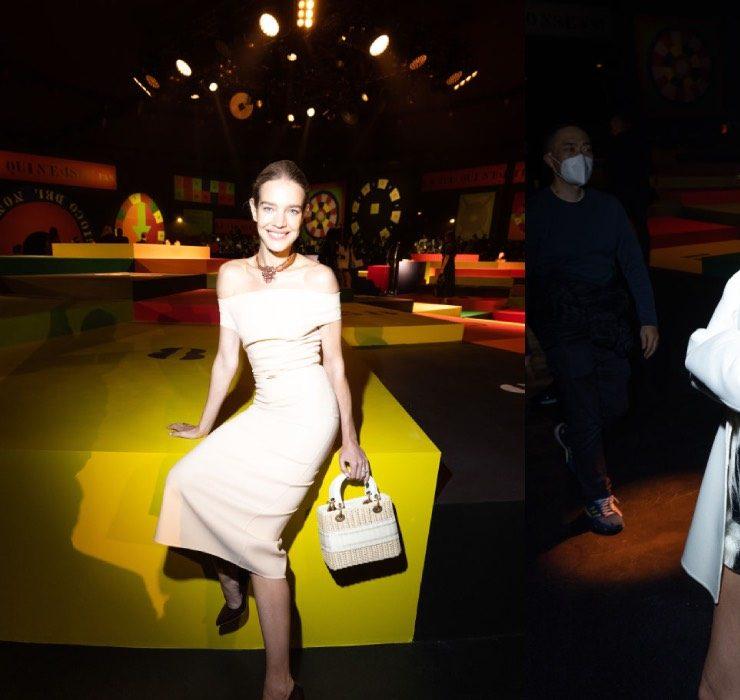 Наталья Водянова и Алекса Чанг в первом ряду показа весенней коллекции Dior